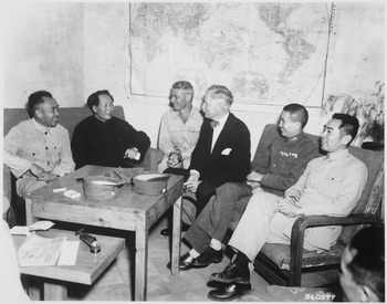 Conference at Yenan Communist Headquarters before Mao Tze Tung, chairman, left for Chungking meeting Central figures - NARA - 531400 tif