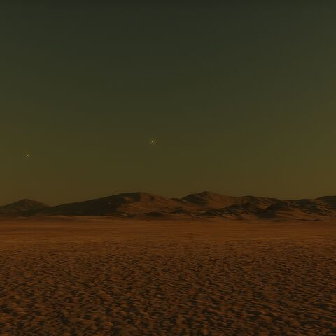Three of the star system's planets line up in the sky in the terminator zone.