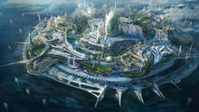 557468-digital art-science fiction-island-futuristic city-748x421