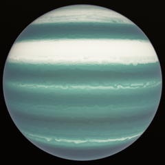 Zia'Rusk in the spring, where the deep blue bands from before hae now turned to white. The other clouds are now a slight minty color.