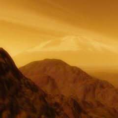 Keglaw's literally lively mountains with a massive volcano in the background.