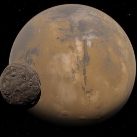 Phobos und Mars