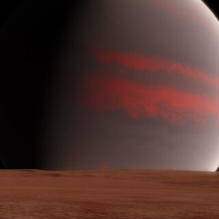 Celva's western hemisphere is a flat dust covered landscape.