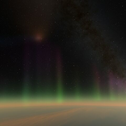 High above the atmosphere, a comet and a distant galaxy can be seen.