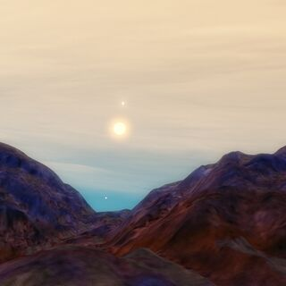 A mountain range on Velzia with purple plant life.