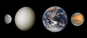 4 Terrestrial Planets Size Comp True Color
