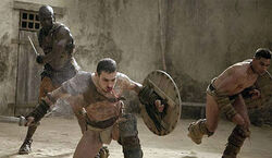 Oenomaus trains spartacus and crixus