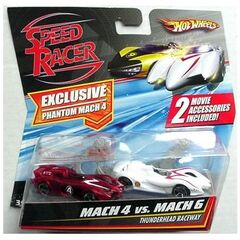 2-pack<br />Phantom Mach 4 and Mach 6 race cars, with saw blades and spear hooks