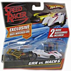 2-pack<br />Race Wrecked GRX and Mach 6 race car, with spear hooks and jump jacks.