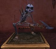 Skeletal axeman museum front