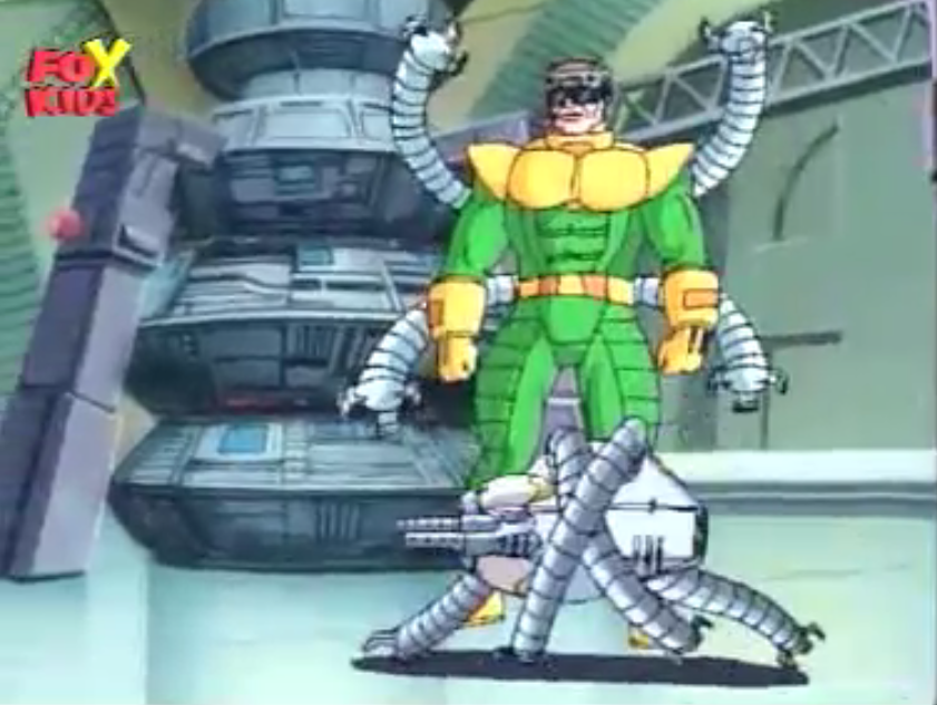 Spider-Man manged to stop Doctor Octopus from stealing the Argon Matrix Laser but failed to prevent Doctor Octopus from escaping. & Doctor Octopus   Spiderman animated Wikia   FANDOM powered by Wikia