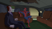 Spider Man sentado comodamente en la Limusina de Osborn 1 - Survival of the Fittest