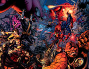 Peter (Earth-1610) fighting with the Fantastic Four (Earth-1610), X-Men (Earth-1610), and the European Defensive Initive