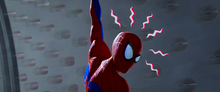 Spider-Man con su sentido arácnido activo - Into the Spider-Verse