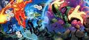 Peter (Earth-1610), Iceman (Earth-1610), Human Torch (Earth-1610) & Invisible Woman (Earth-1610) vs a unknown creature