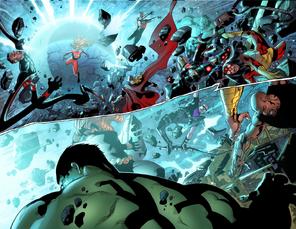 Sue derrotando a los Vengadores