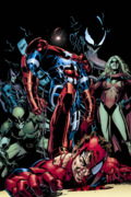 Spider-Man fighting the Dark Avengers