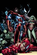 Spider-Man fighting the Dark Avengers