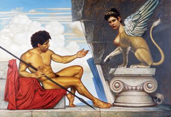 John-w-kelley-greek-mythology-now-oedipus-and-the-sphinx