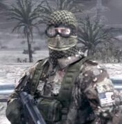 Sam wearing a Shemagh and goggles, and armed with a HK MP5-N. Gulf War 1991.