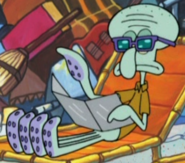 Squidward Wearing Sunglasses and Holding a Tanning Mirror