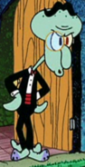 Squidward Wearing Fancy Clothes