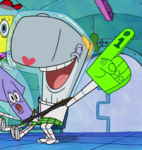 Pearl with a foam finger