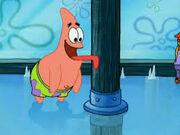 Patrick's tongue stuck on a pole