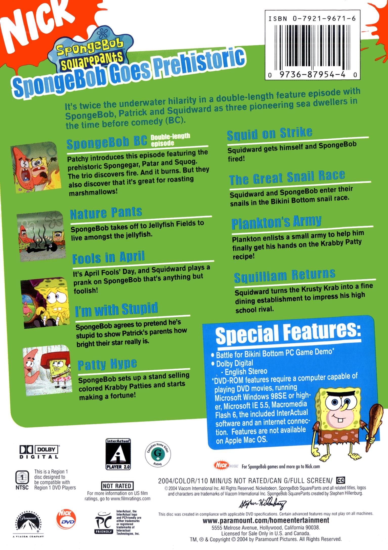 Spongebob Goes Prehistoric Dvd Back Cover Jpg
