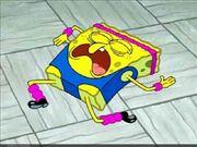 Spongebob snoring on the ground