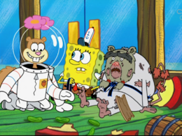 Sandy's overlapping body in The Way of the Sponge