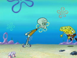 SpongeBob's shirt error in Squid's Visit
