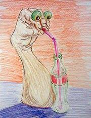 Oobi hand puppet drinkin sum soda