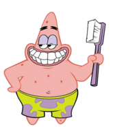 Patrick with toothbrush stock art