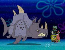 Squidward, Spongebob, Patrick, & 1 Sea Rhino