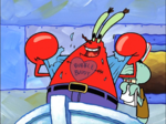 Mr. Krabs with a Tattoo and Squidawrd Wearing the Krusty Krab Uniform and Holding a Pad of Paper