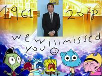 Characters crying over Hillenburg's death