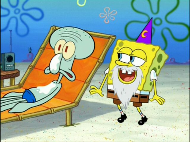 File:Squidward & Spongebob (Wearing 1 Wizard Beard & 1 Wizard Hat).jpg