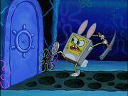 Spongebob Wearing 1 Bunny Costume Holding 1 Pick Axe