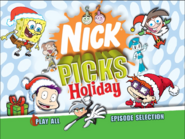 Nick Picks Holiday Main Menu