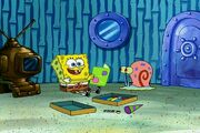 SpongeBob setting up party