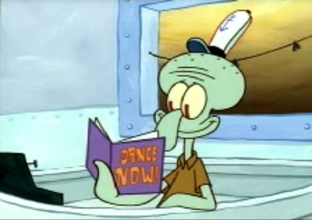 Dance Now magazine squidward holding magazing