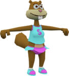 Sandy in a cheerleader outfit