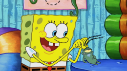 SpongeBob's blue hole mistake in Plankton Gets the Boot
