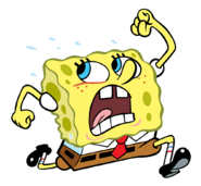 SpongeBob running and sweating stock art
