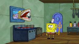 Incidental 6 eating a Krusty Krab employee hat