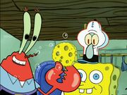 Mr. Krabs & Squidward Wearing 1 Spongebob Costume