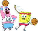 Patick and SpongeBob playing basketball