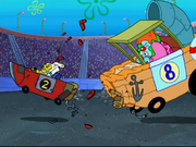 SpongeBob crushing into the Crackling Cruiser