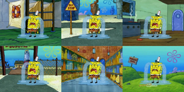 SpongeBob wearing his hat when some of them, he isn't at the Krusty Krab